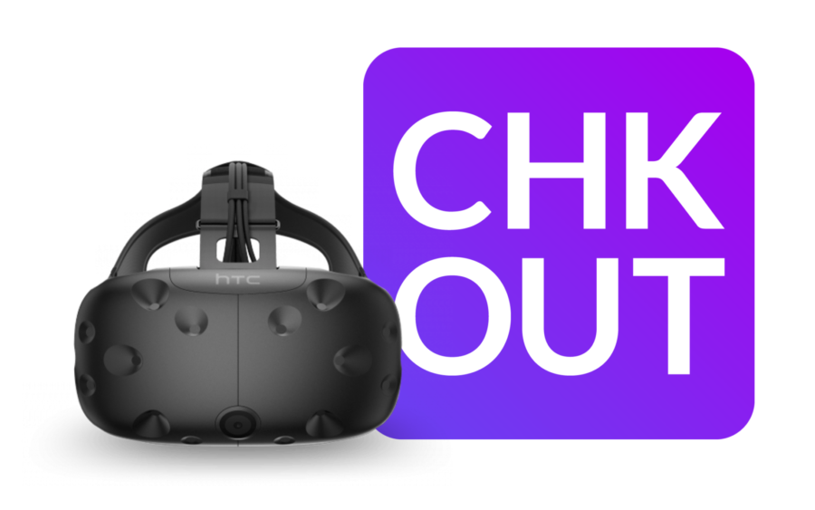 chkout logo and vive headset