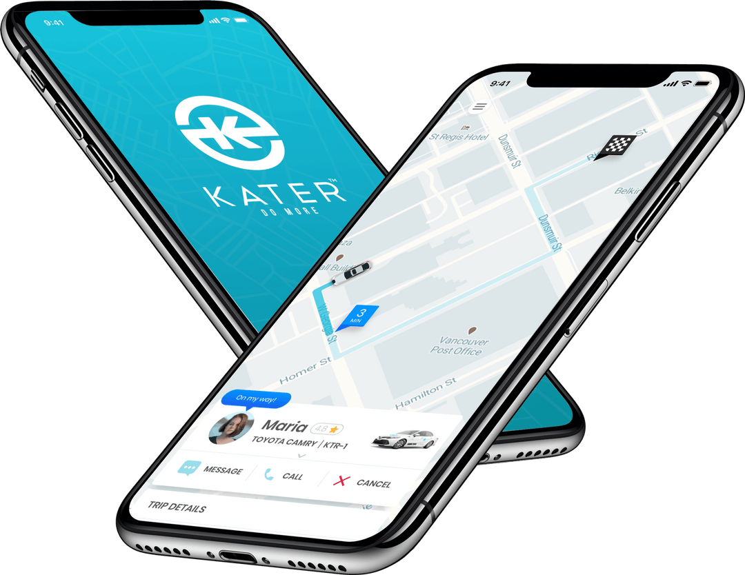 kater app booking a ride in iphone mockup