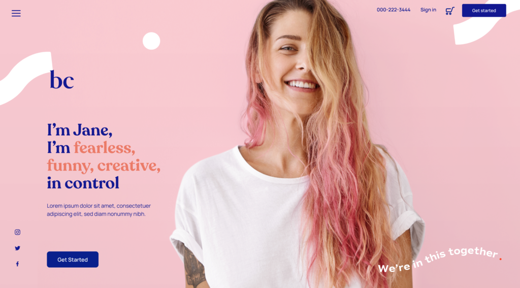 Landing page birthcontrol.com girl with pink background